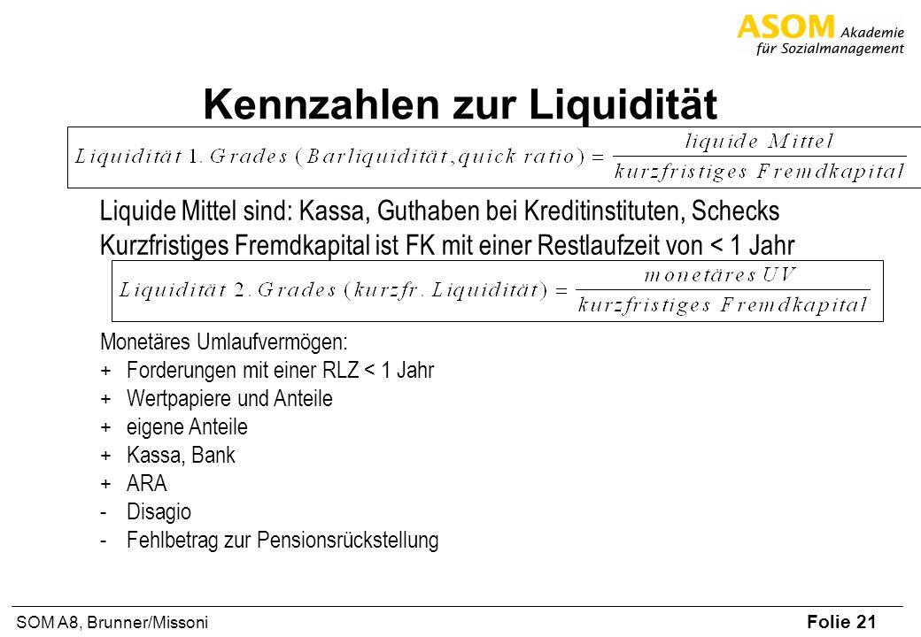 Folie 21 SOM A8, Brunner/Missoni Kennzahlen zur Liquidität Liquide Mittel sind: Kassa, Guthaben bei Kreditinstituten, Schecks Kurzfristiges Fremdkapital ist FK mit einer Restlaufzeit von < 1 Jahr Monetäres Umlaufvermögen: +Forderungen mit einer RLZ < 1 Jahr +Wertpapiere und Anteile +eigene Anteile +Kassa, Bank +ARA -Disagio -Fehlbetrag zur Pensionsrückstellung