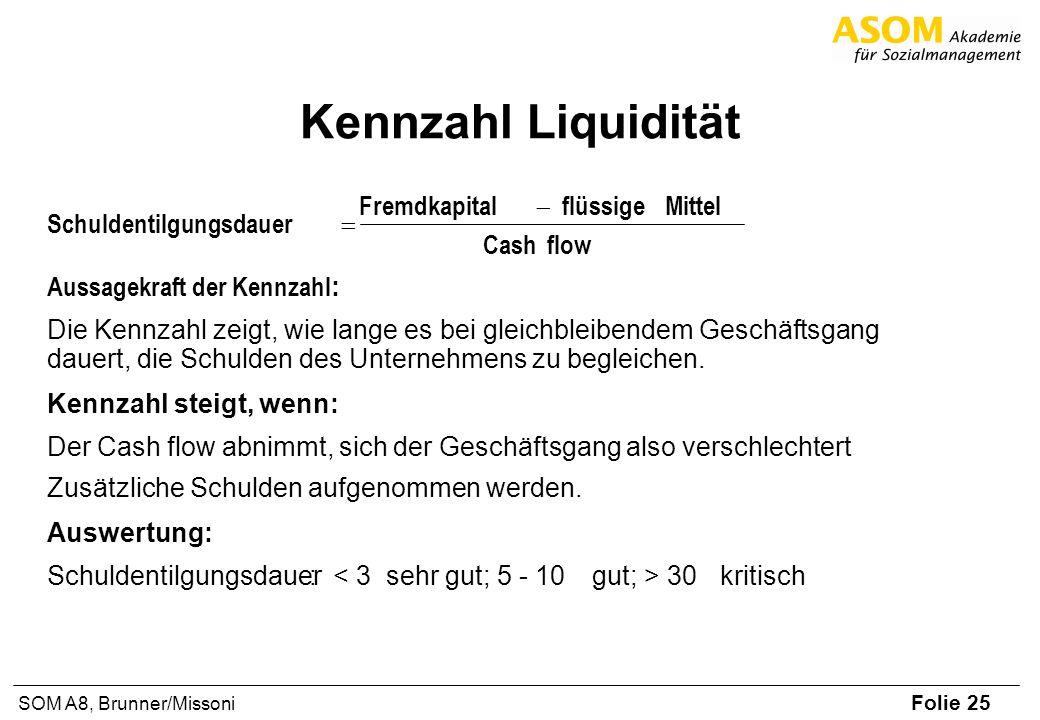 Folie 25 SOM A8, Brunner/Missoni Kennzahl Liquidität Aussagekraft der Kennzahl : Die Kennzahl zeigt, wie lange es bei gleichbleibendem Geschäftsgang d