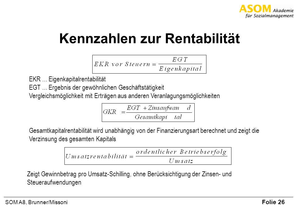 Folie 26 SOM A8, Brunner/Missoni Kennzahlen zur Rentabilität EKR... Eigenkapitalrentabilität EGT... Ergebnis der gewöhnlichen Geschäftstätigkeit Vergl