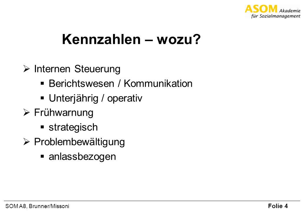 Folie 4 SOM A8, Brunner/Missoni Kennzahlen – wozu? Internen Steuerung Berichtswesen / Kommunikation Unterjährig / operativ Frühwarnung strategisch Pro
