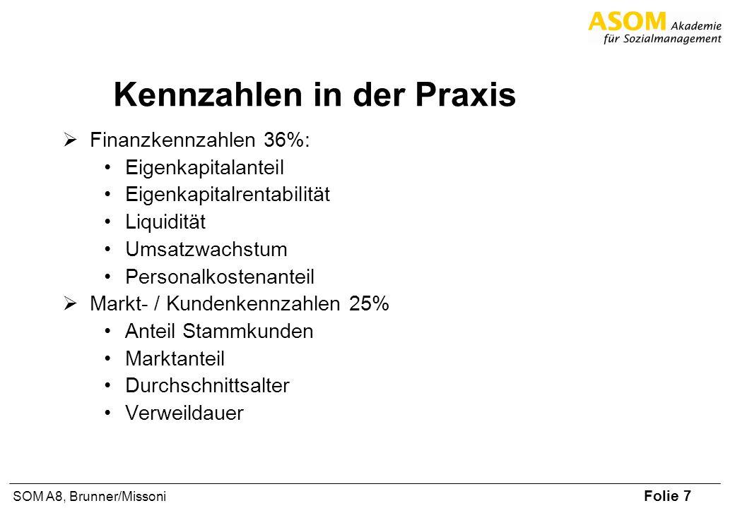 Folie 7 SOM A8, Brunner/Missoni Kennzahlen in der Praxis Finanzkennzahlen 36%: Eigenkapitalanteil Eigenkapitalrentabilität Liquidität Umsatzwachstum P