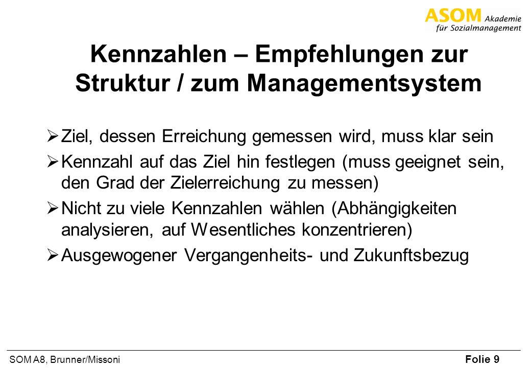 Folie 9 SOM A8, Brunner/Missoni Kennzahlen – Empfehlungen zur Struktur / zum Managementsystem Ziel, dessen Erreichung gemessen wird, muss klar sein Ke