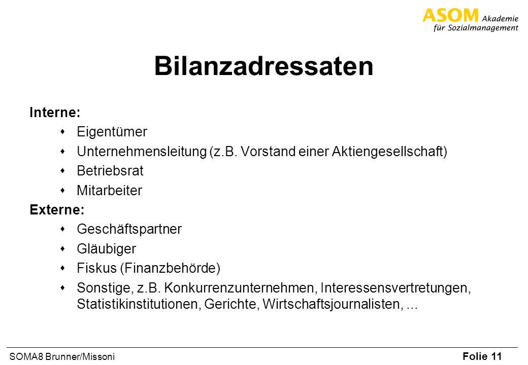 Folie 11 SOMA8 Brunner/Missoni Bilanzadressaten Interne: sEigentümer sUnternehmensleitung (z.B. Vorstand einer Aktiengesellschaft) sBetriebsrat sMitar