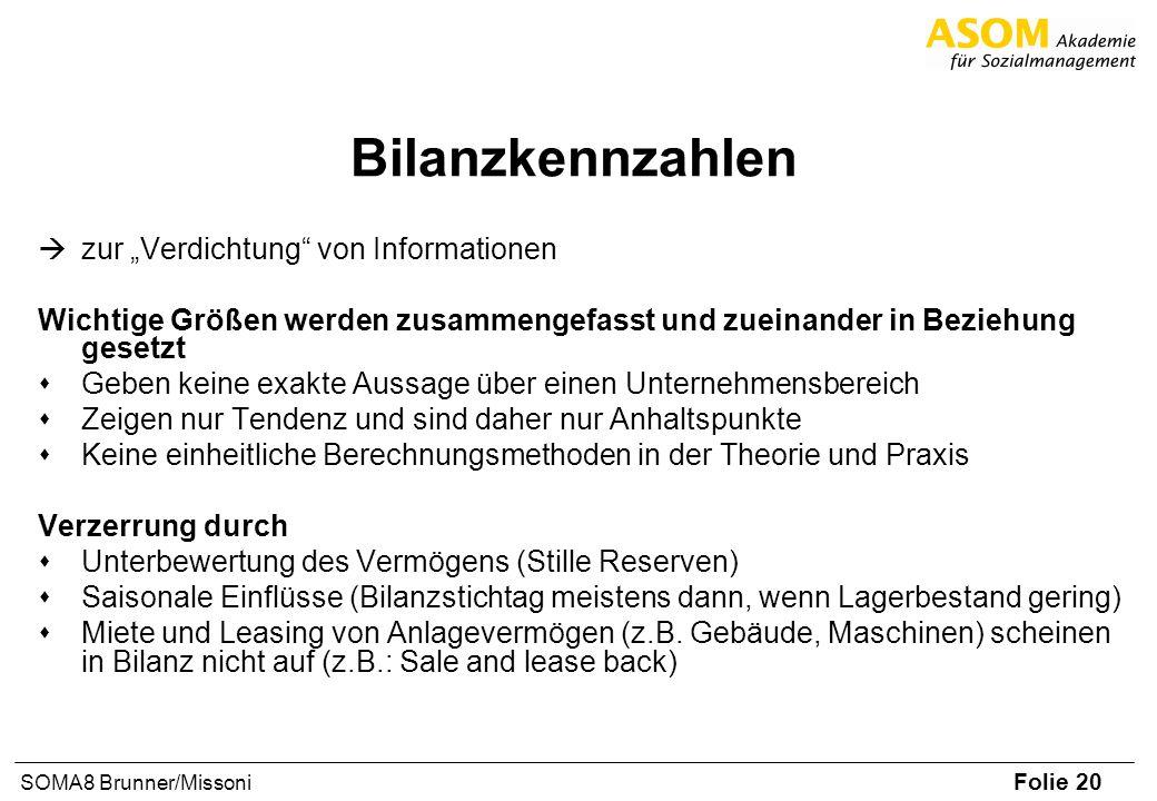 Folie 20 SOMA8 Brunner/Missoni Bilanzkennzahlen zur Verdichtung von Informationen Wichtige Größen werden zusammengefasst und zueinander in Beziehung g