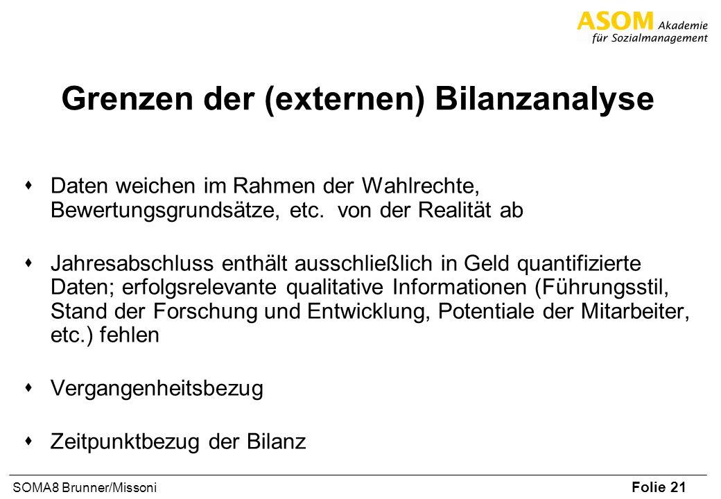 Folie 21 SOMA8 Brunner/Missoni Grenzen der (externen) Bilanzanalyse sDaten weichen im Rahmen der Wahlrechte, Bewertungsgrundsätze, etc. von der Realit