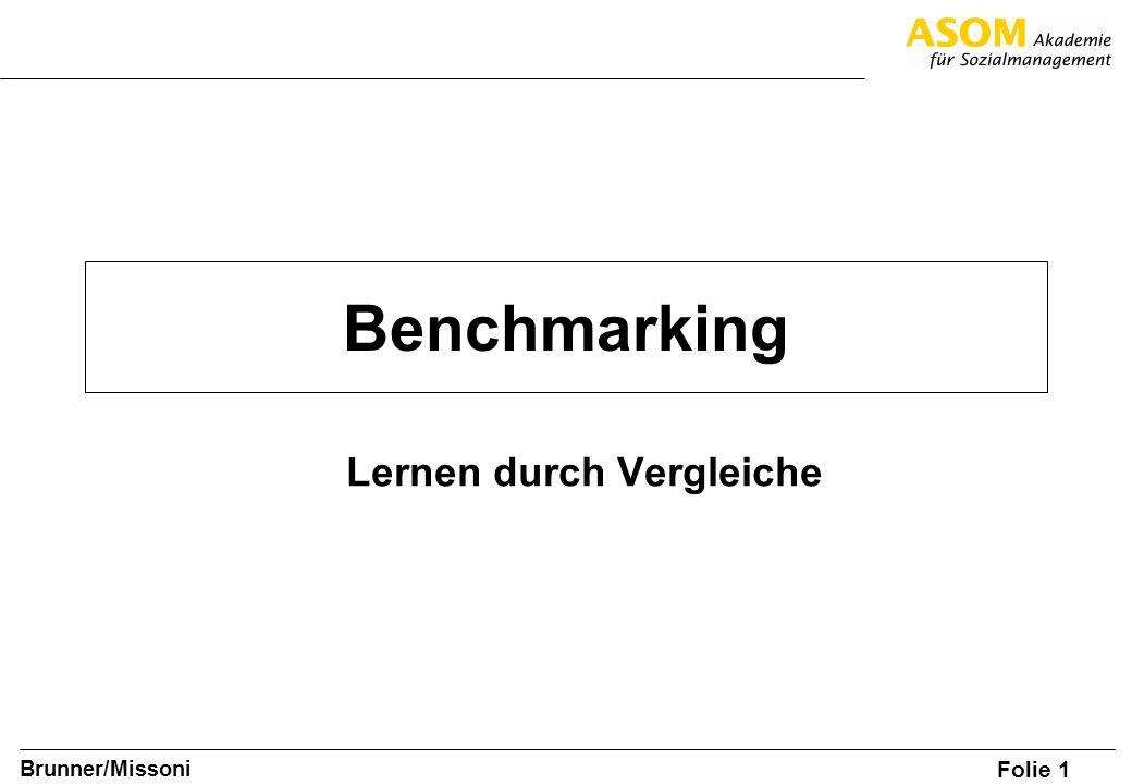 Folie 2 SOM A8, Brunner/Missoni Benchmarking (Anonymer) Vergleich mit anderen Organisationen oder Einrichtungen zu festgelegten Messgrößen auf der Suche nach den besten Leistungen und Verfahren Innensicht wird durch den Blick von und nach außen ergänzt
