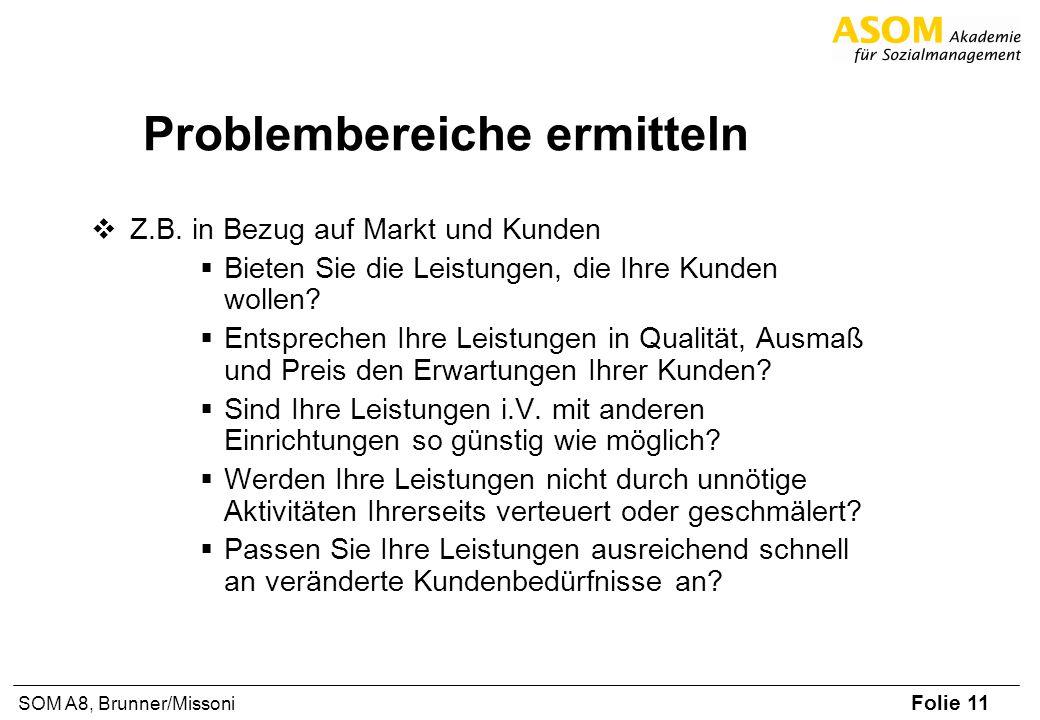 Folie 11 SOM A8, Brunner/Missoni Problembereiche ermitteln Z.B. in Bezug auf Markt und Kunden Bieten Sie die Leistungen, die Ihre Kunden wollen? Entsp