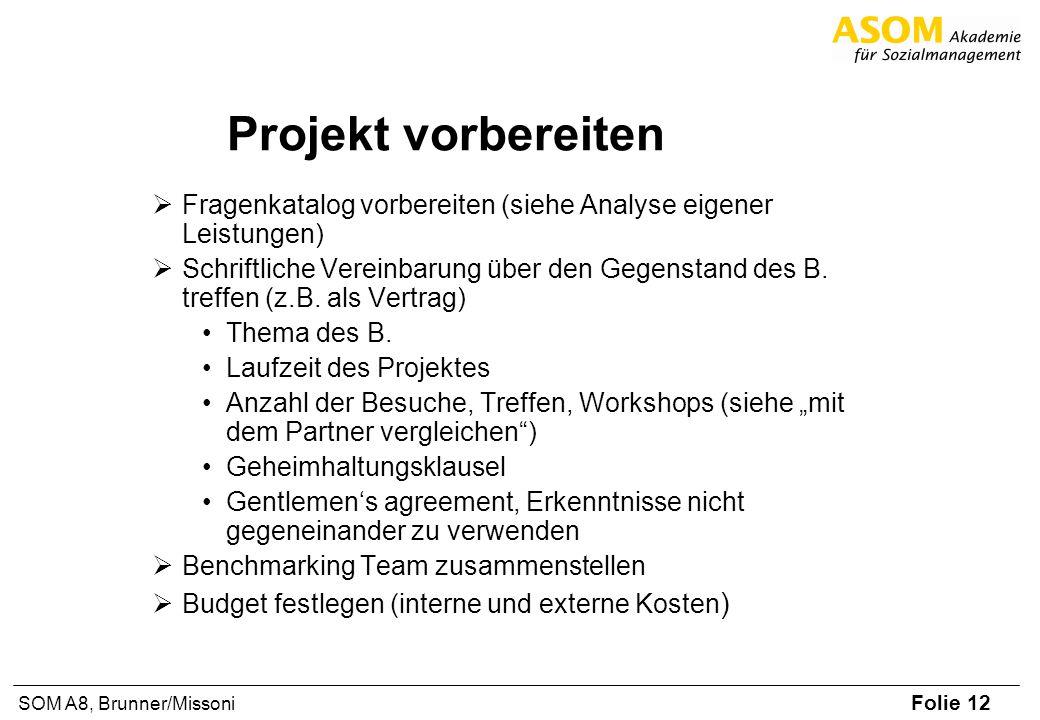 Folie 12 SOM A8, Brunner/Missoni Projekt vorbereiten Fragenkatalog vorbereiten (siehe Analyse eigener Leistungen) Schriftliche Vereinbarung über den G