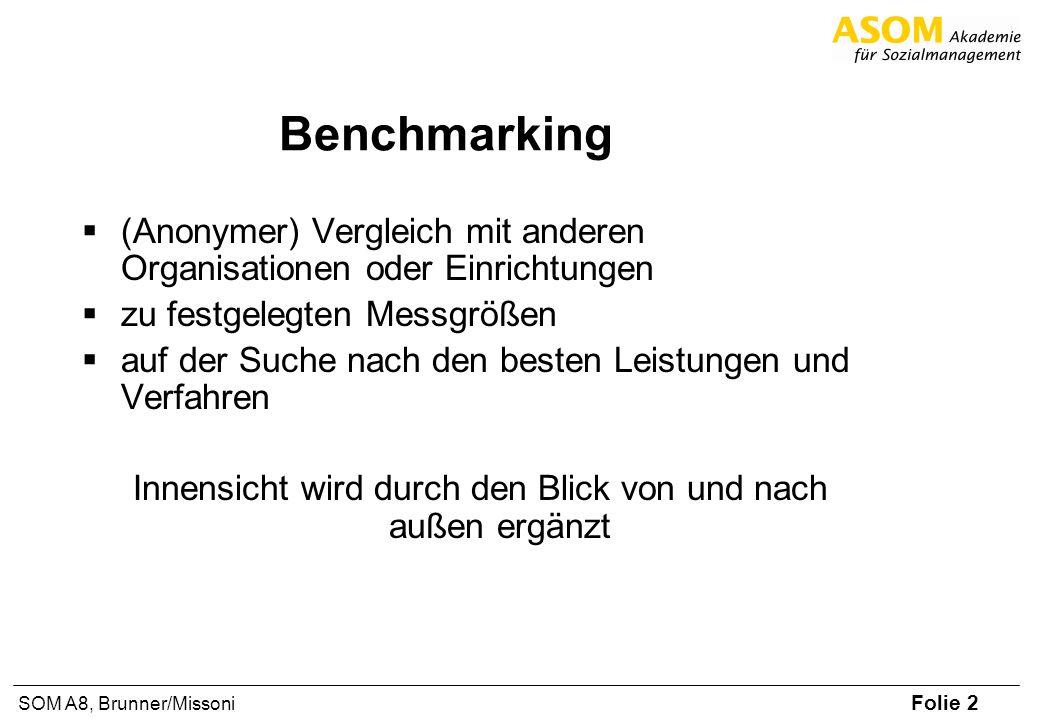 Folie 2 SOM A8, Brunner/Missoni Benchmarking (Anonymer) Vergleich mit anderen Organisationen oder Einrichtungen zu festgelegten Messgrößen auf der Suc