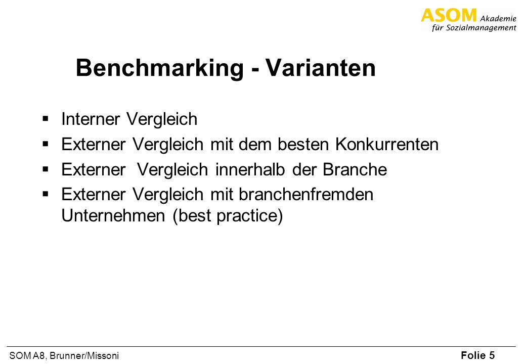 Folie 6 SOM A8, Brunner/Missoni Internes Benchmarking Vorteile Leichter Zugang zu Daten Erster Einstieg ins B.