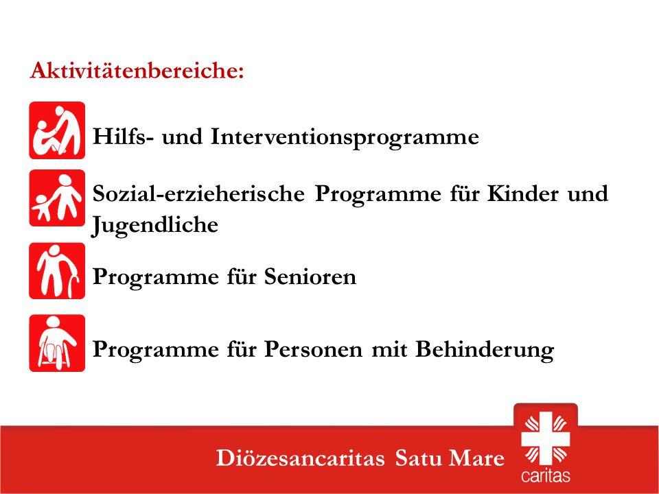 Szatmárnémeti Caritas Szervezet Diözesancaritas Satu Mare Aktivitätenbereiche: Sozial-erzieherische Programme für Kinder und Jugendliche Programme für