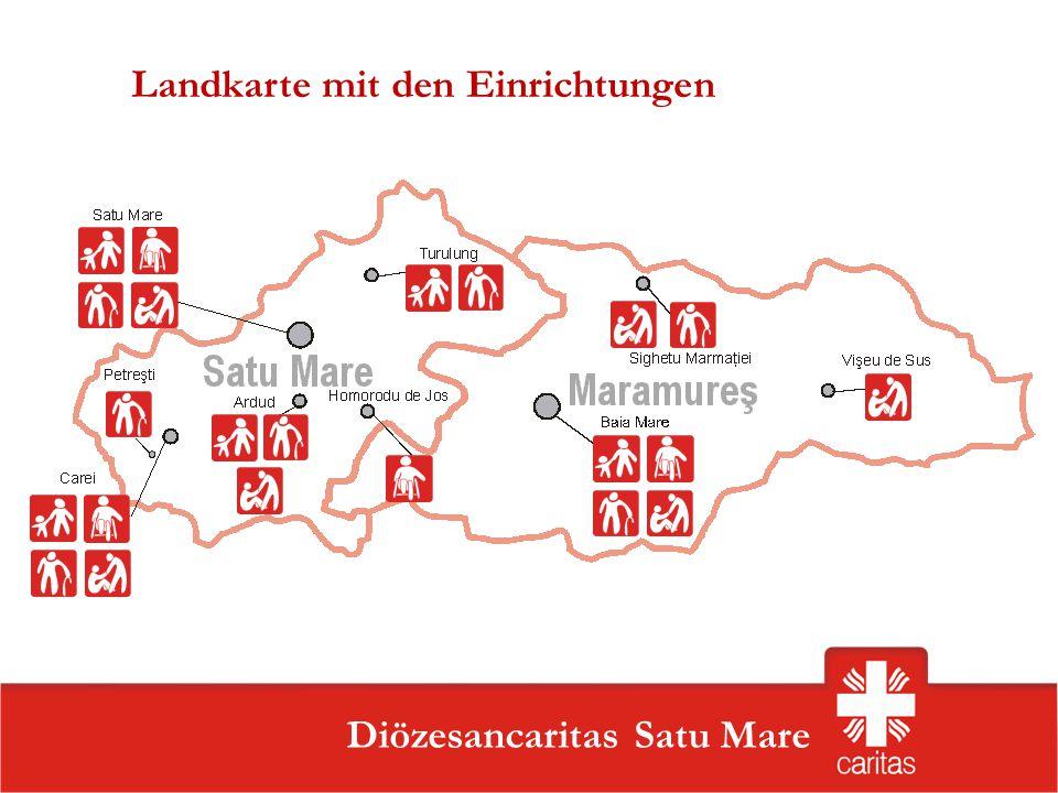 Szatmárnémeti Caritas Szervezet Diözesancaritas Satu Mare Landkarte mit den Einrichtungen