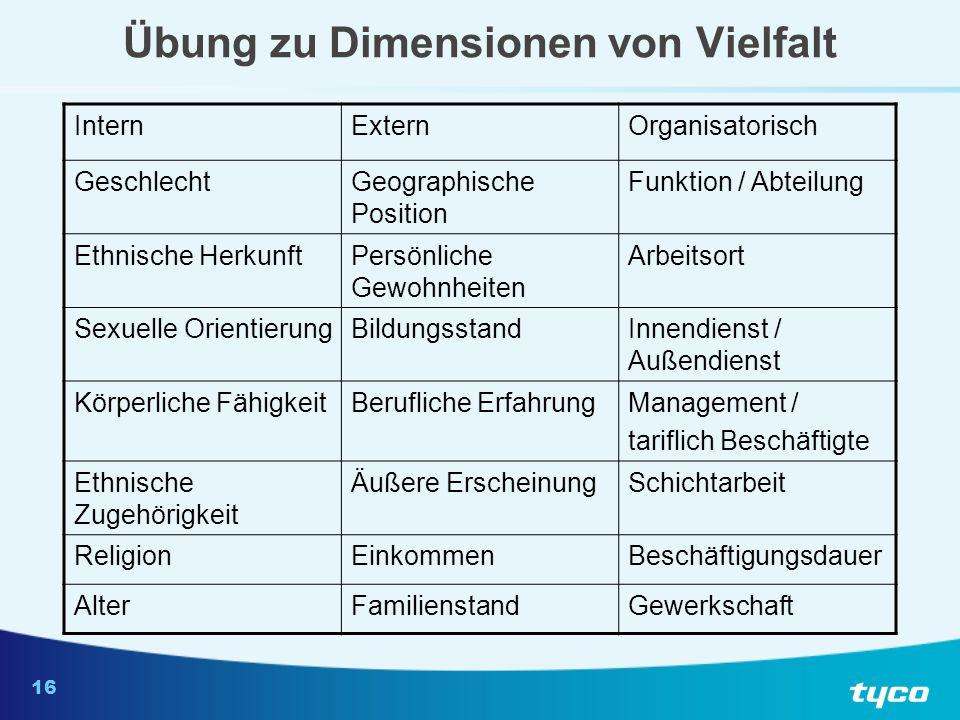 16 Übung zu Dimensionen von Vielfalt InternExternOrganisatorisch GeschlechtGeographische Position Funktion / Abteilung Ethnische HerkunftPersönliche G