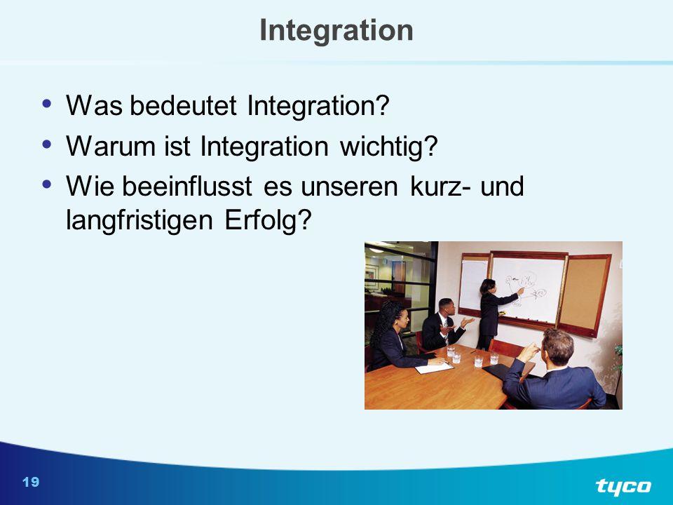 19 Integration Was bedeutet Integration? Warum ist Integration wichtig? Wie beeinflusst es unseren kurz- und langfristigen Erfolg?