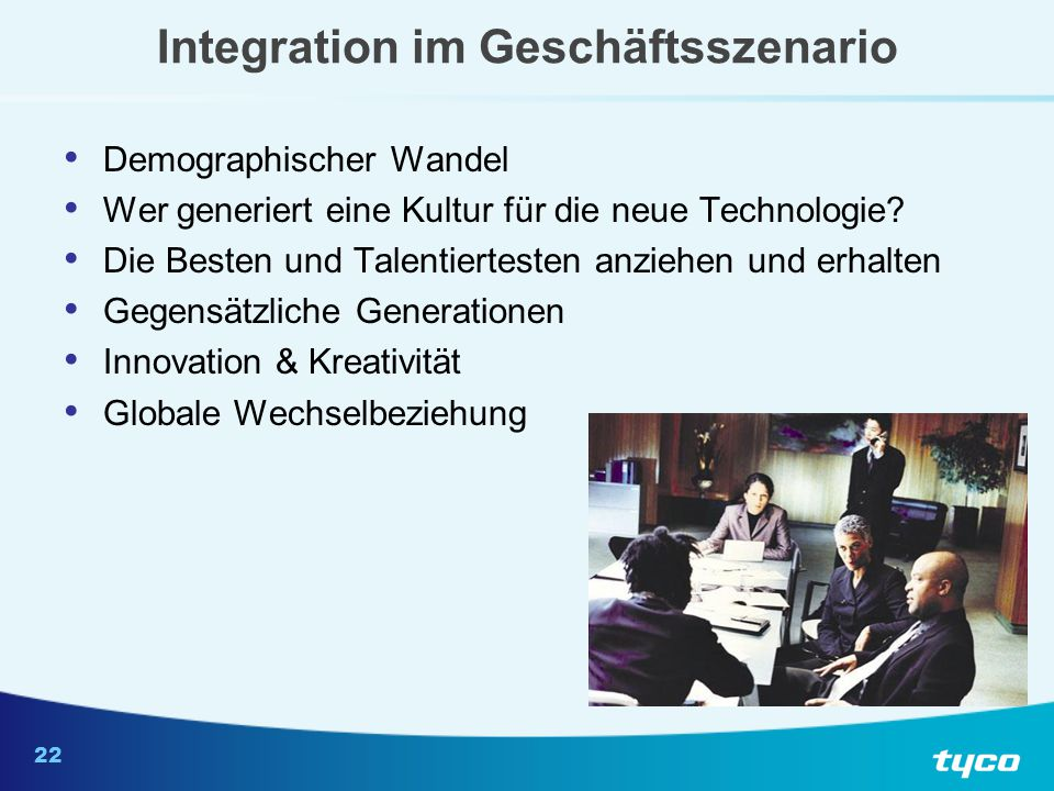 22 Integration im Geschäftsszenario Demographischer Wandel Wer generiert eine Kultur für die neue Technologie? Die Besten und Talentiertesten anziehen