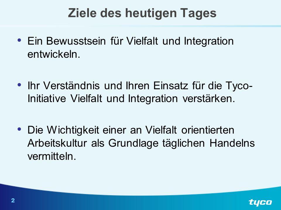 3 Tyco-Mission zur internationalen Vielfalt und Integration Ausbau unseres Unternehmens durch eine integrative Arbeitsumgebung, die eine vielfältige Belegschaft wertschätzt und fördert.