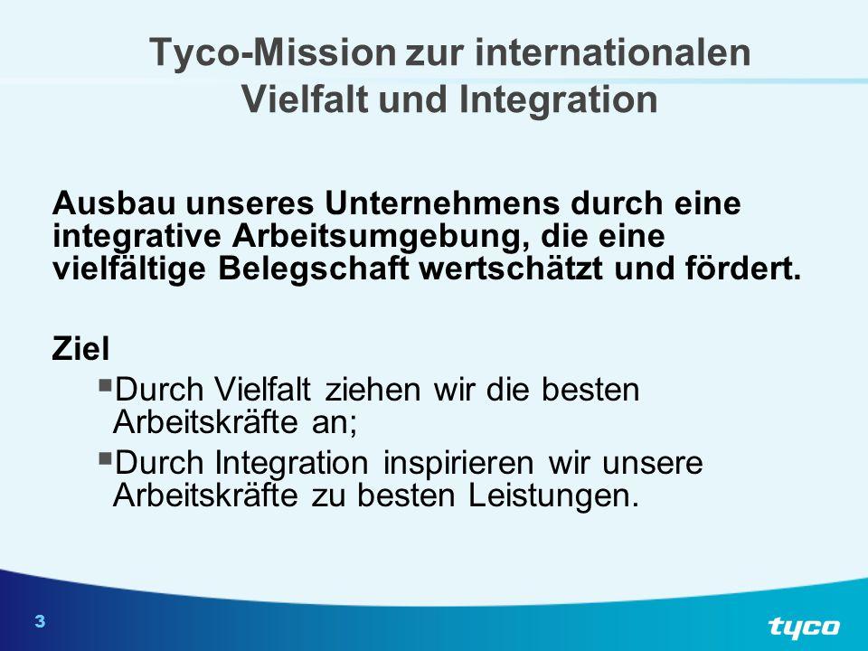 3 Tyco-Mission zur internationalen Vielfalt und Integration Ausbau unseres Unternehmens durch eine integrative Arbeitsumgebung, die eine vielfältige B