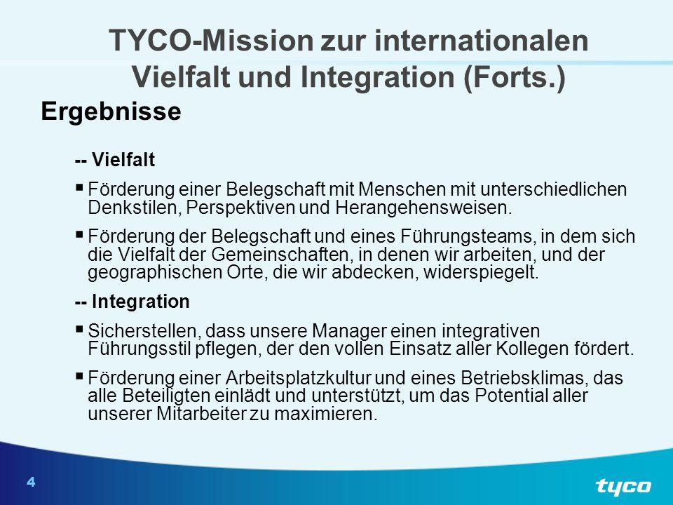 4 TYCO-Mission zur internationalen Vielfalt und Integration (Forts.) Ergebnisse -- Vielfalt Förderung einer Belegschaft mit Menschen mit unterschiedlichen Denkstilen, Perspektiven und Herangehensweisen.