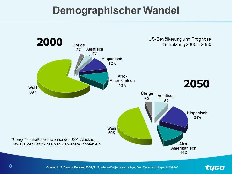 8 Demographischer Wandel 2000 2050 US-Bevölkerung und Prognose Schätzung 2000 – 2050 Quelle: U.S. Census Bureau, 2004,