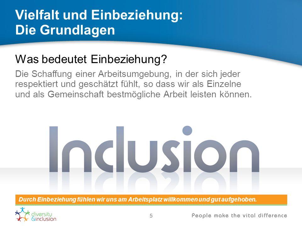 55 Vielfalt und Einbeziehung: Die Grundlagen Was bedeutet Einbeziehung? Die Schaffung einer Arbeitsumgebung, in der sich jeder respektiert und geschät