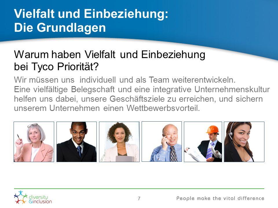 77 Vielfalt und Einbeziehung: Die Grundlagen Warum haben Vielfalt und Einbeziehung bei Tyco Priorität? Wir müssen uns individuell und als Team weitere