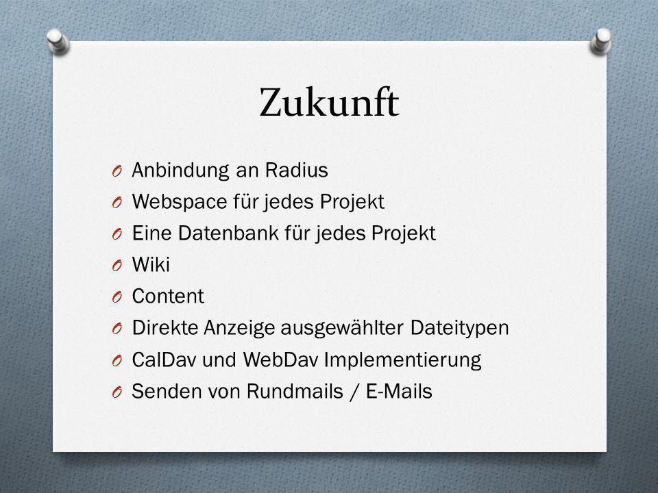 O Anbindung an Radius O Webspace für jedes Projekt O Eine Datenbank für jedes Projekt O Wiki O Content O Direkte Anzeige ausgewählter Dateitypen O Cal