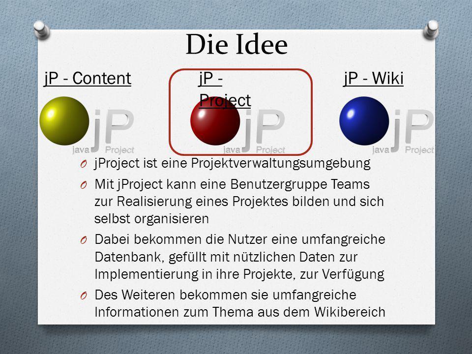 O jProject ist eine Projektverwaltungsumgebung O Mit jProject kann eine Benutzergruppe Teams zur Realisierung eines Projektes bilden und sich selbst o