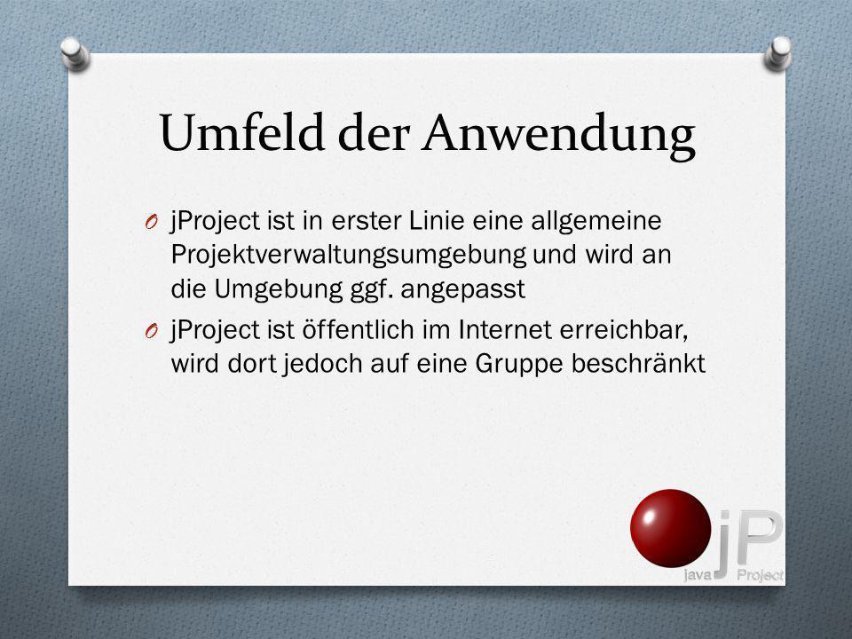 Umfeld der Anwendung O jProject ist in erster Linie eine allgemeine Projektverwaltungsumgebung und wird an die Umgebung ggf. angepasst O jProject ist