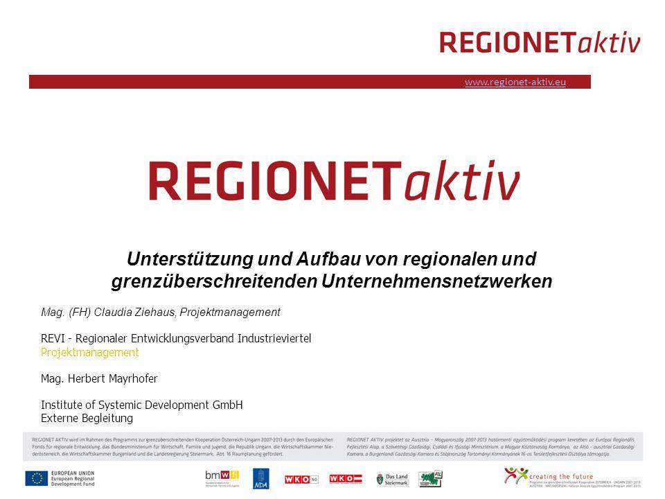 www.industrieviertel.at www.regionet-aktiv.eu Unterstützung und Aufbau von regionalen und grenzüberschreitenden Unternehmensnetzwerken Mag.