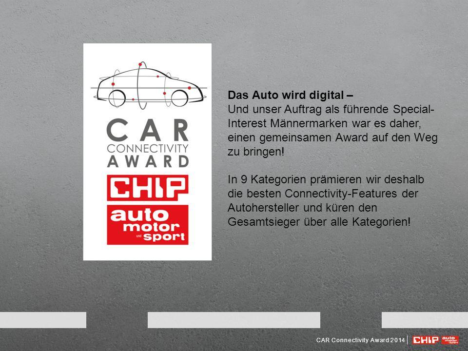 CAR Connectivity Award 2014 Das Auto wird digital – Und unser Auftrag als führende Special- Interest Männermarken war es daher, einen gemeinsamen Award auf den Weg zu bringen.