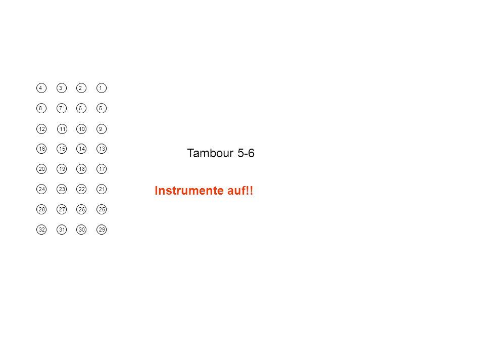 4321 8765 1211109 16151413 20191817 24232221 28272625 32313029 Tambour 5-6 Instrumente auf!!