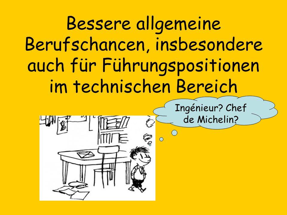 Bessere allgemeine Berufschancen, insbesondere auch für Führungspositionen im technischen Bereich Ingénieur? Chef de Michelin?