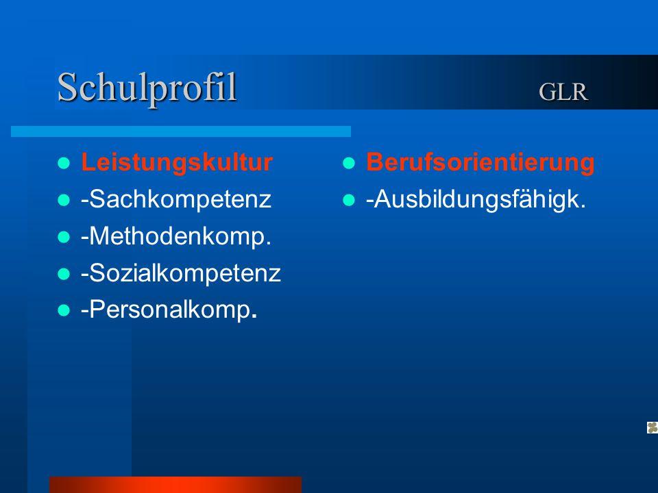 Schulprofil GLR Leistungskultur -Sachkompetenz -Methodenkomp. -Sozialkompetenz -Personalkomp. Berufsorientierung -Ausbildungsfähigk.