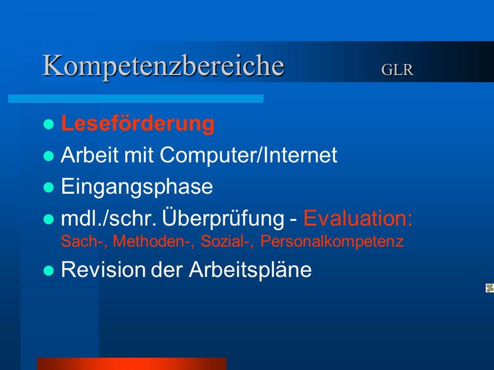Kompetenzbereiche GLR Leseförderung Arbeit mit Computer/Internet Eingangsphase mdl./schr. Überprüfung - Evaluation: Sach-, Methoden-, Sozial-, Persona