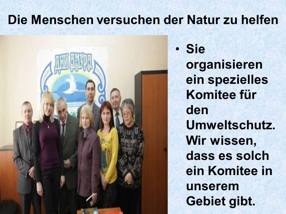 Die Menschen versuchen der Natur zu helfen Sie organisieren ein spezielles Komitee für den Umweltschutz.