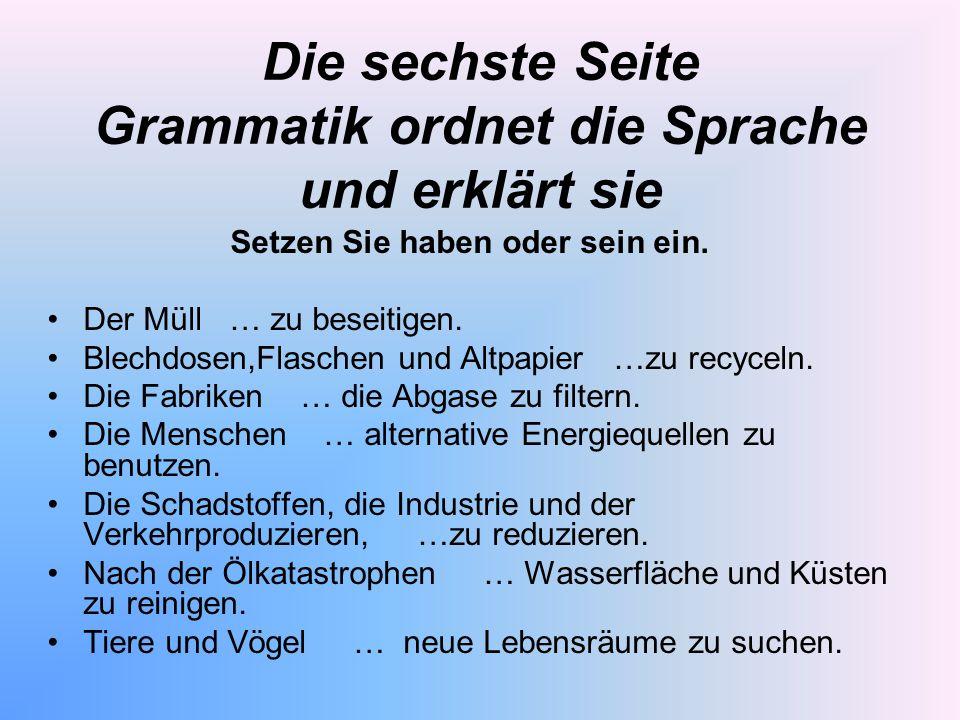 Die sechste Seite Grammatik ordnet die Sprache und erklärt sie Setzen Sie haben oder sein ein. Der Müll … zu beseitigen. Blechdosen,Flaschen und Altpa