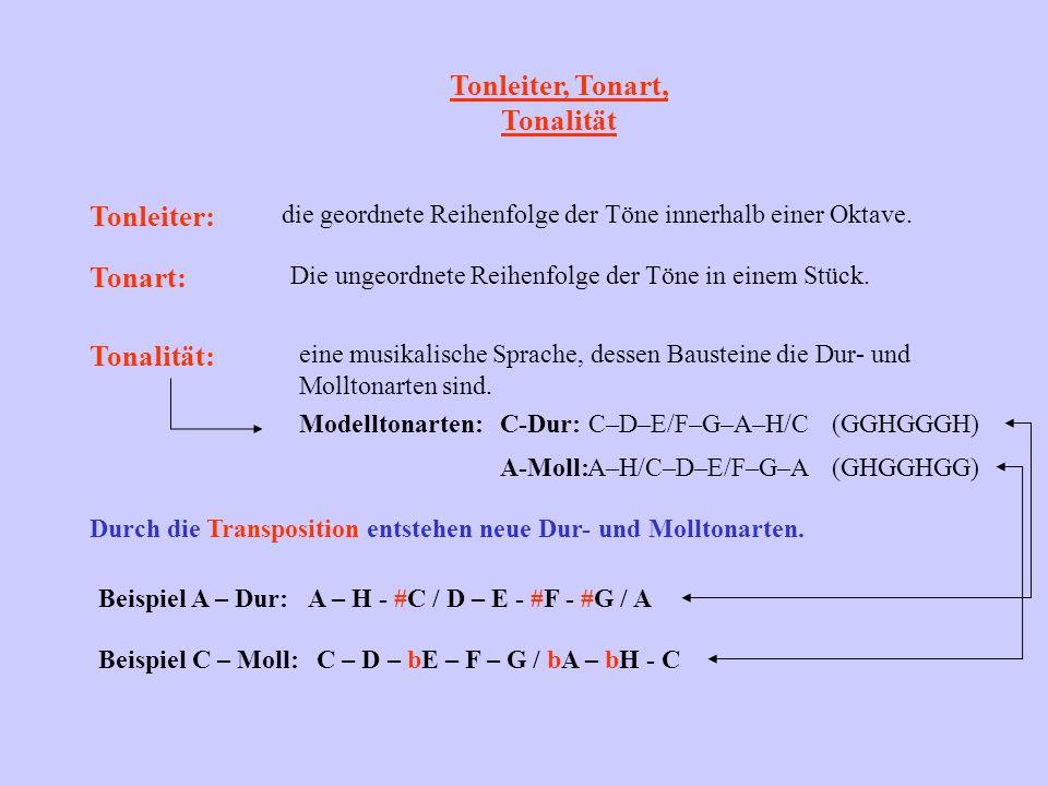 Tonleiter, Tonart, Tonalität Tonleiter: die geordnete Reihenfolge der Töne innerhalb einer Oktave. Tonart: Die ungeordnete Reihenfolge der Töne in ein