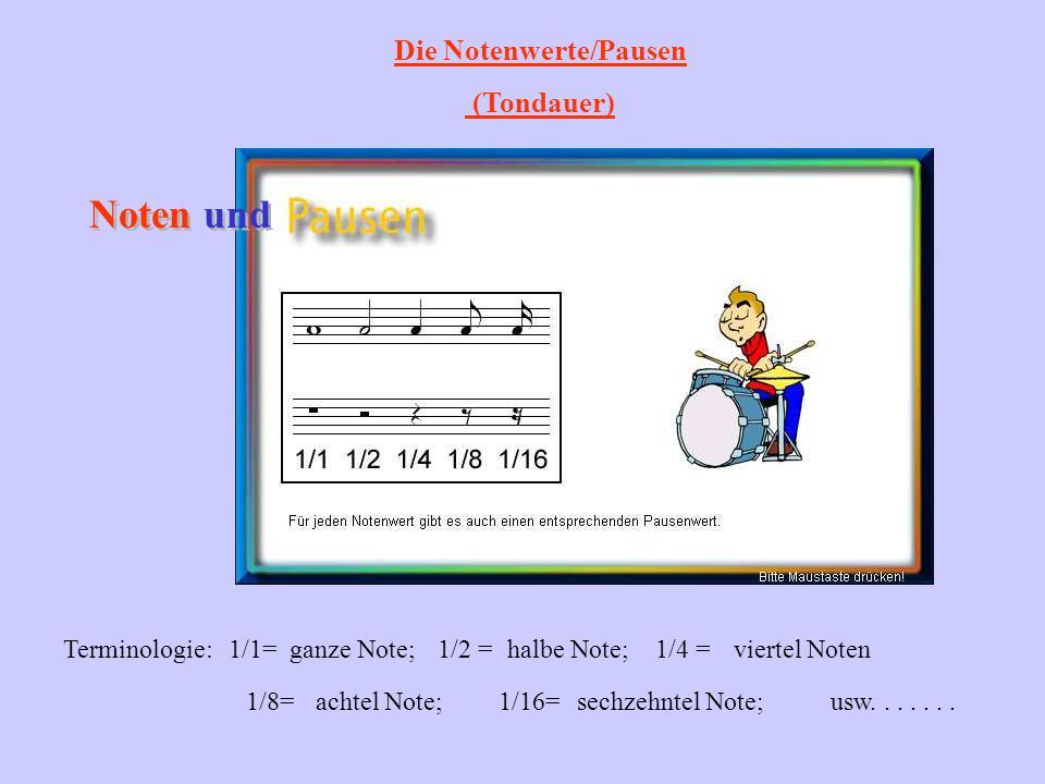 Die Notenwerte/Pausen (Tondauer) Noten und Terminologie:1/1=ganze Note;1/2 =halbe Note;1/4 =viertel Noten usw.......1/8=achtel Note;1/16=sechzehntel N