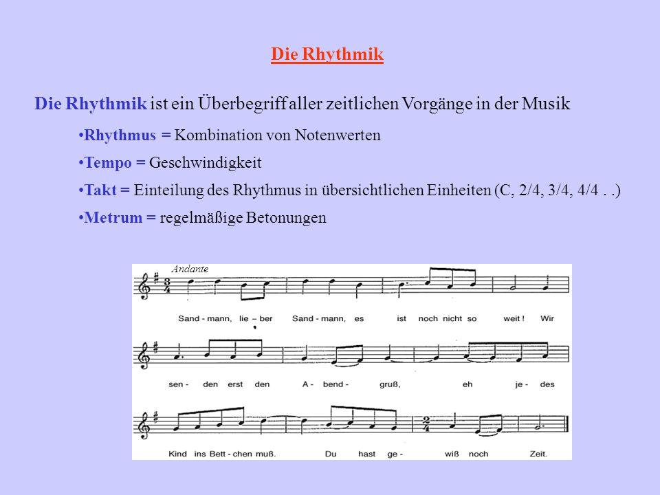 Die Rhythmik Die Rhythmik ist ein Überbegriff aller zeitlichen Vorgänge in der Musik Rhythmus = Kombination von Notenwerten Tempo = Geschwindigkeit Ta