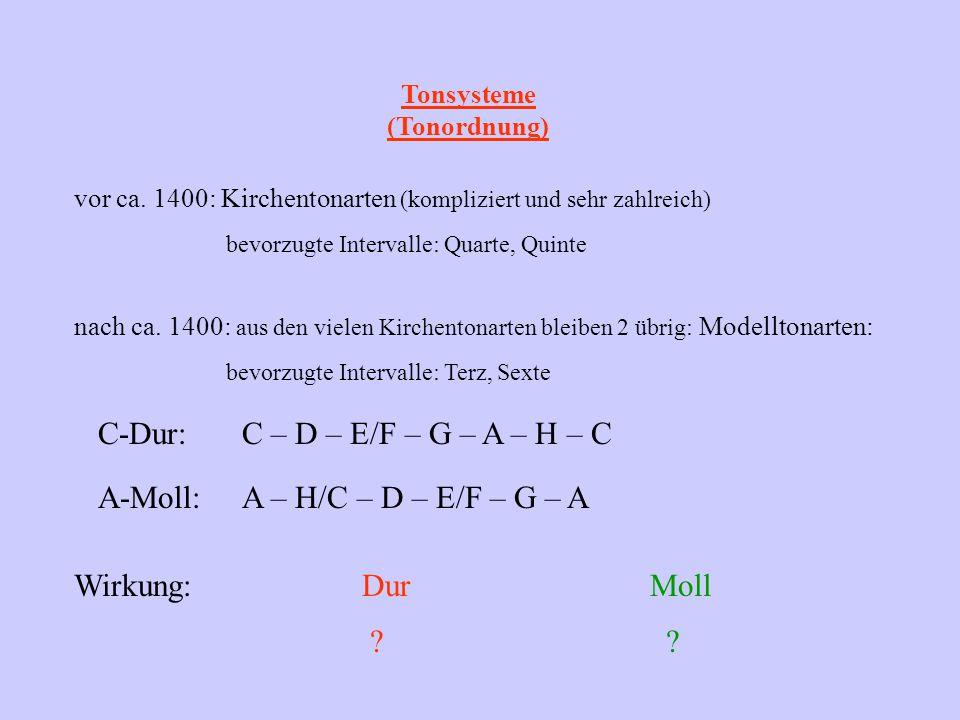 Tonsysteme (Tonordnung) vor ca. 1400: Kirchentonarten (kompliziert und sehr zahlreich) nach ca. 1400: aus den vielen Kirchentonarten bleiben 2 übrig: