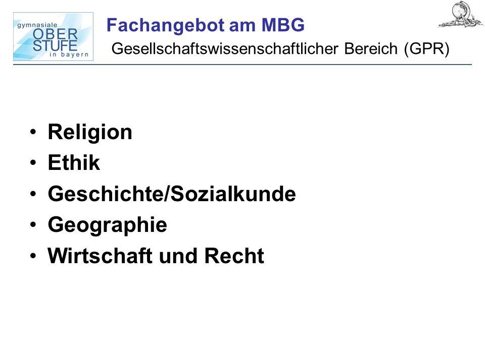 Fachangebot am MBG Gesellschaftswissenschaftlicher Bereich (GPR) Religion Ethik Geschichte/Sozialkunde Geographie Wirtschaft und Recht