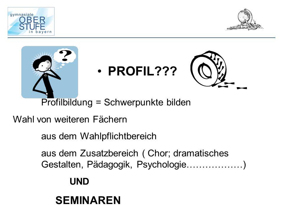 PROFIL??? Profilbildung = Schwerpunkte bilden Wahl von weiteren Fächern aus dem Wahlpflichtbereich aus dem Zusatzbereich ( Chor; dramatisches Gestalte