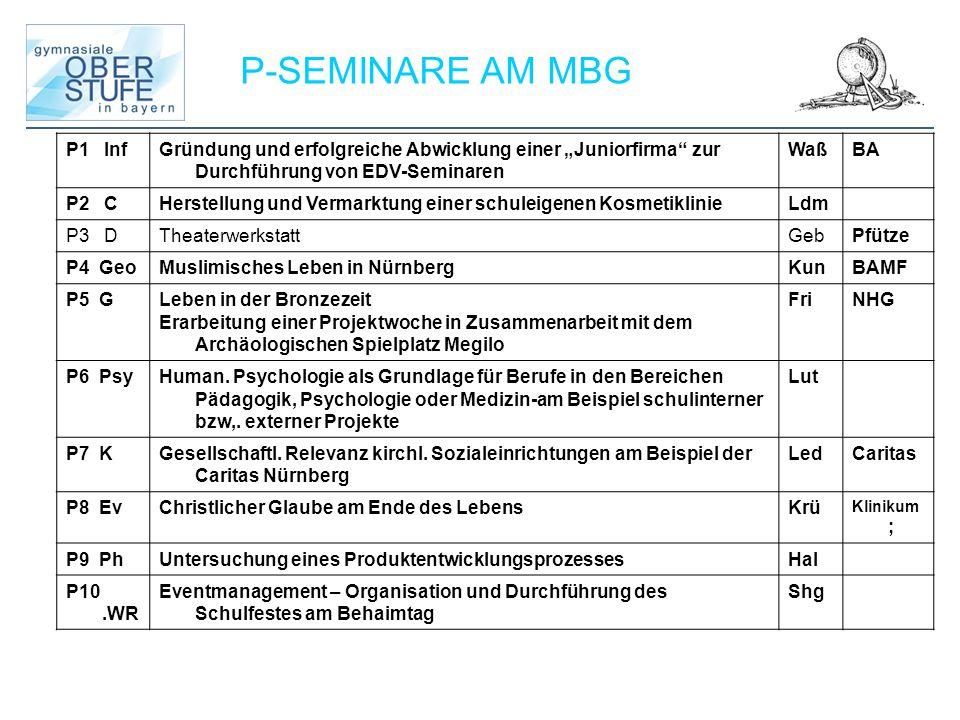 P-SEMINARE AM MBG P1 InfGründung und erfolgreiche Abwicklung einer Juniorfirma zur Durchführung von EDV-Seminaren WaßBA P2 CHerstellung und Vermarktun