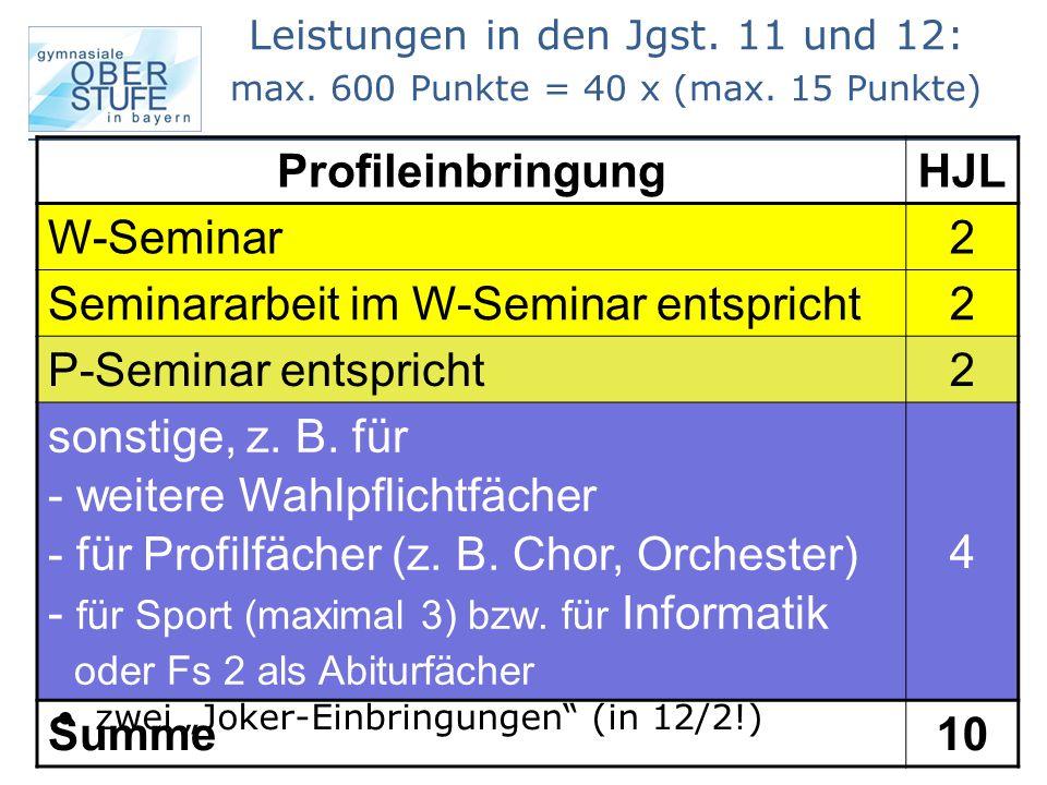 Profileinbringung HJL W-Seminar 2 Seminararbeit im W-Seminar entspricht 2 P-Seminar entspricht 2 sonstige, z. B. für - weitere Wahlpflichtfächer - für