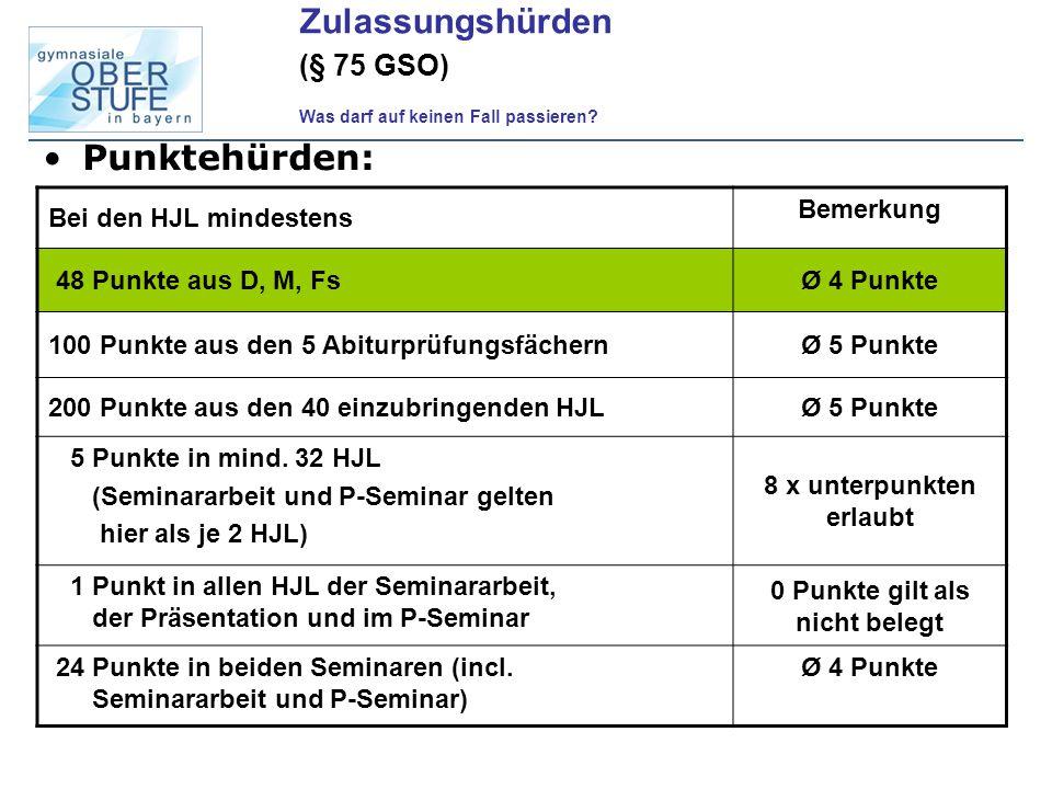 Weitere Bedingungen: -drei Aufgabenfelder durch die Abiturprüfungsfächer abgedeckt -Mindestens 132 Halbjahreswochenstunden belegt -Seminararbeit + W-Seminar + P-Seminar mind.