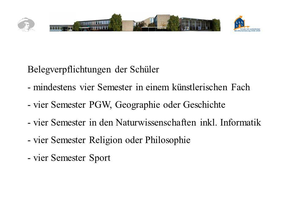 Belegverpflichtungen der Schüler - mindestens vier Semester in einem künstlerischen Fach - vier Semester PGW, Geographie oder Geschichte - vier Semest