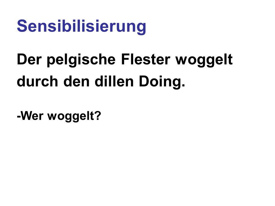 Sensibilisierung Der pelgische Flester woggelt durch den dillen Doing. -Wer woggelt? -Was tut er?