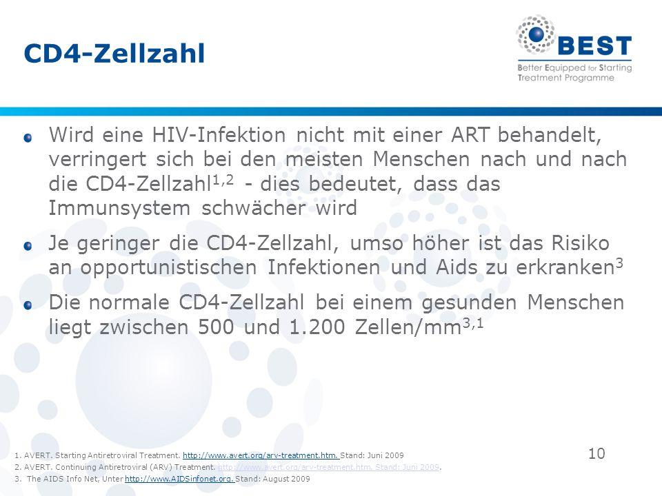 10 CD4-Zellzahl Wird eine HIV-Infektion nicht mit einer ART behandelt, verringert sich bei den meisten Menschen nach und nach die CD4-Zellzahl 1,2 - d
