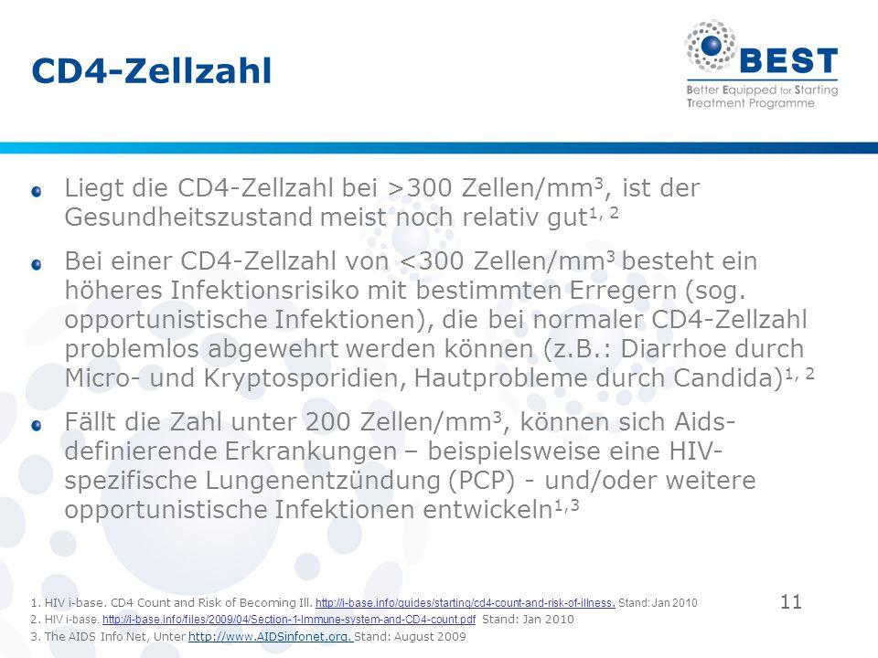 11 CD4-Zellzahl Liegt die CD4-Zellzahl bei >300 Zellen/mm 3, ist der Gesundheitszustand meist noch relativ gut 1, 2 Bei einer CD4-Zellzahl von <300 Ze
