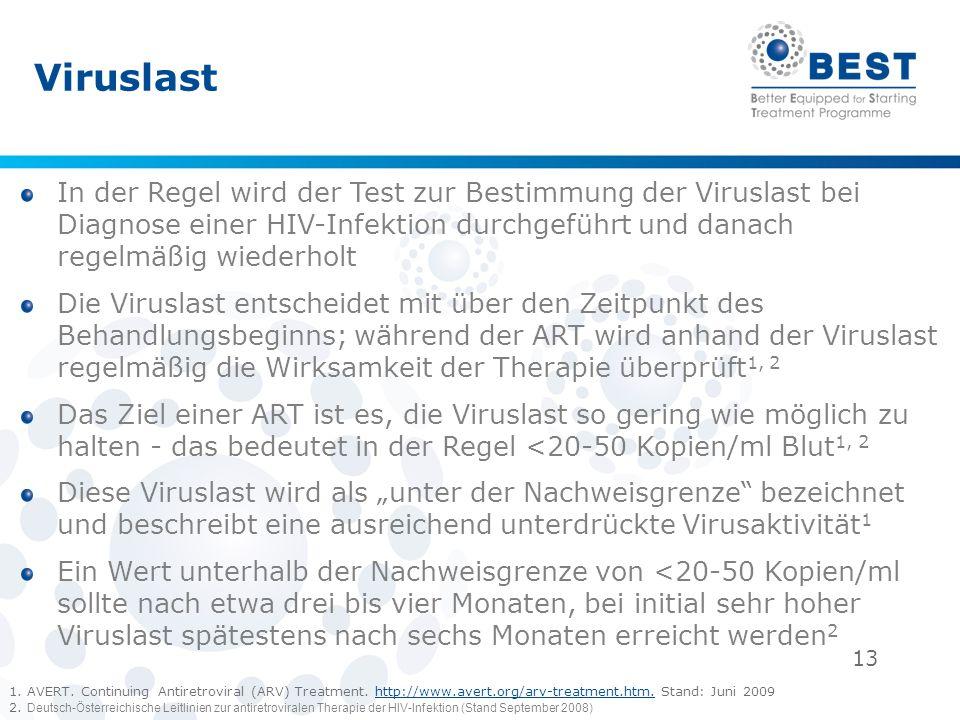 13 Viruslast In der Regel wird der Test zur Bestimmung der Viruslast bei Diagnose einer HIV-Infektion durchgeführt und danach regelmäßig wiederholt Di